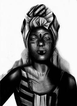 Yemaya - traditional pencil art
