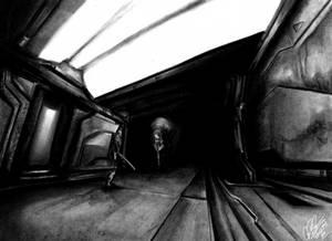 Waframe Alien Crossover Charcoal Art