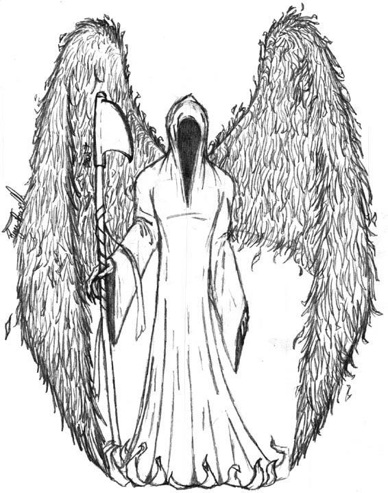 Angel of death b and w sketch by immortus
