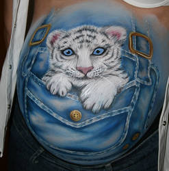 Bellypainting Weisser Tiger