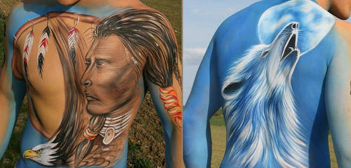 Bodypainting Indianer