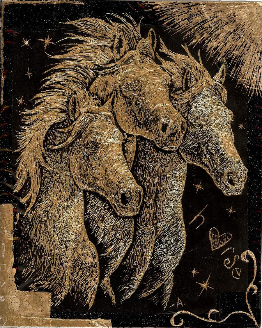 horses scratch-art by archangel1012345