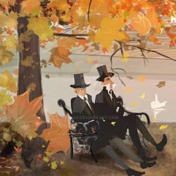 Sherlock and Watson at the park - Autumn