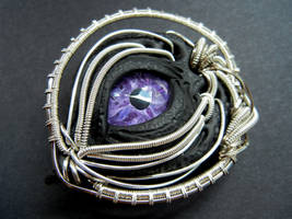 Wire wrapped polymer clay pin by dogzillalives