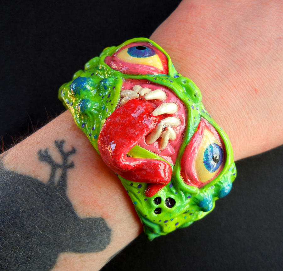 Polymer clay creature cuff 2 by dogzillalives