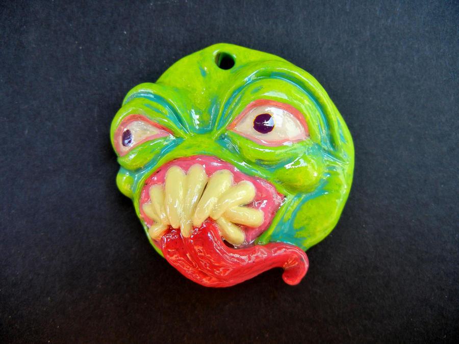 Monster pendant polymer clay by dogzillalives