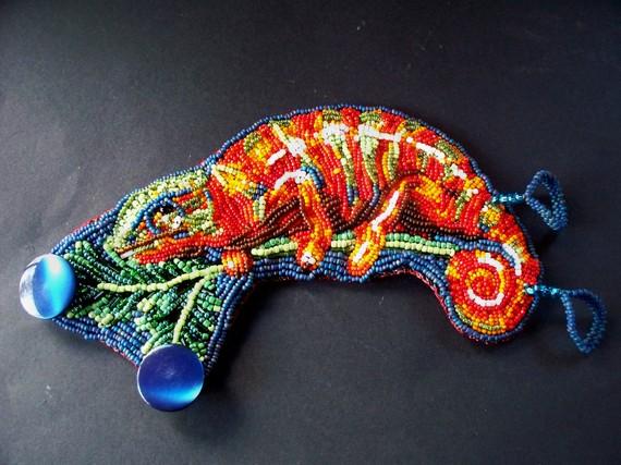 Chameleon bead embroidered bracelet by dogzillalives