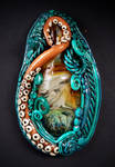 Octopus Garden polymer clay and boro glass pendant