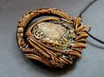 Herkimer druzy wire wrap polymer clay pendant