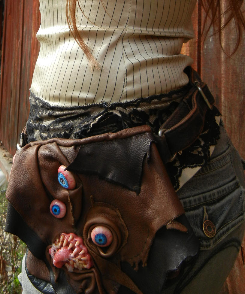 Leather monster belt bag thing by dogzillalives