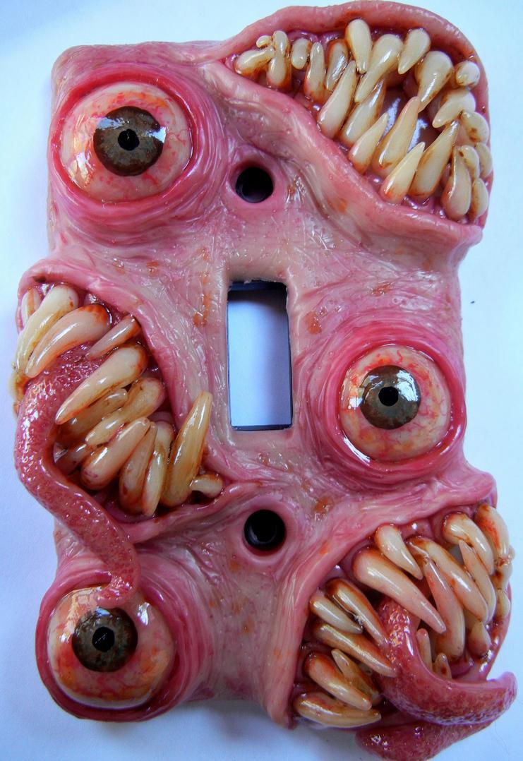 Toothy Von Eyescratch  switchplate by dogzillalives