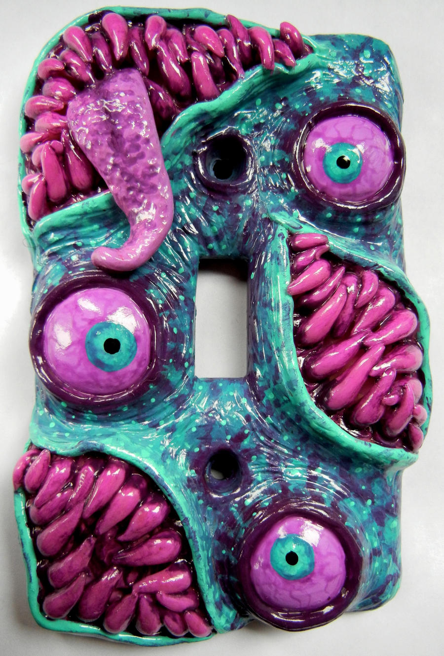 Purple pink and teal monster switchplate by dogzillalives