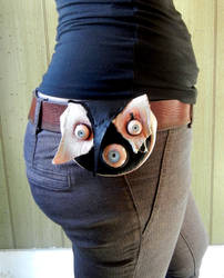 black and white leather belt bag by dogzillalives