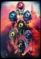 Cast resin alien cyclops pendants by dogzillalives