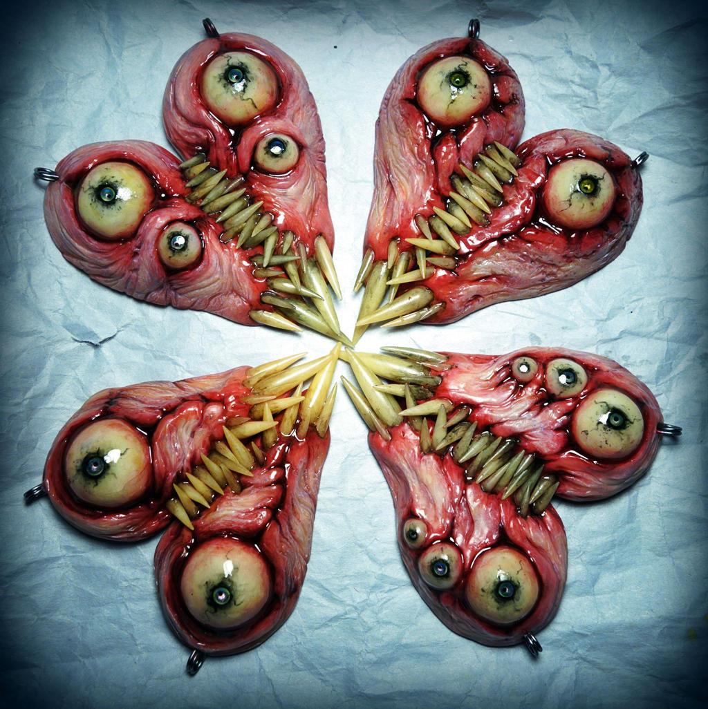 Meat hearts bff pendant sets interlocking teeth by dogzillalives