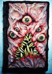 Book of the Dead blank sketchbook ooak sculpture by dogzillalives