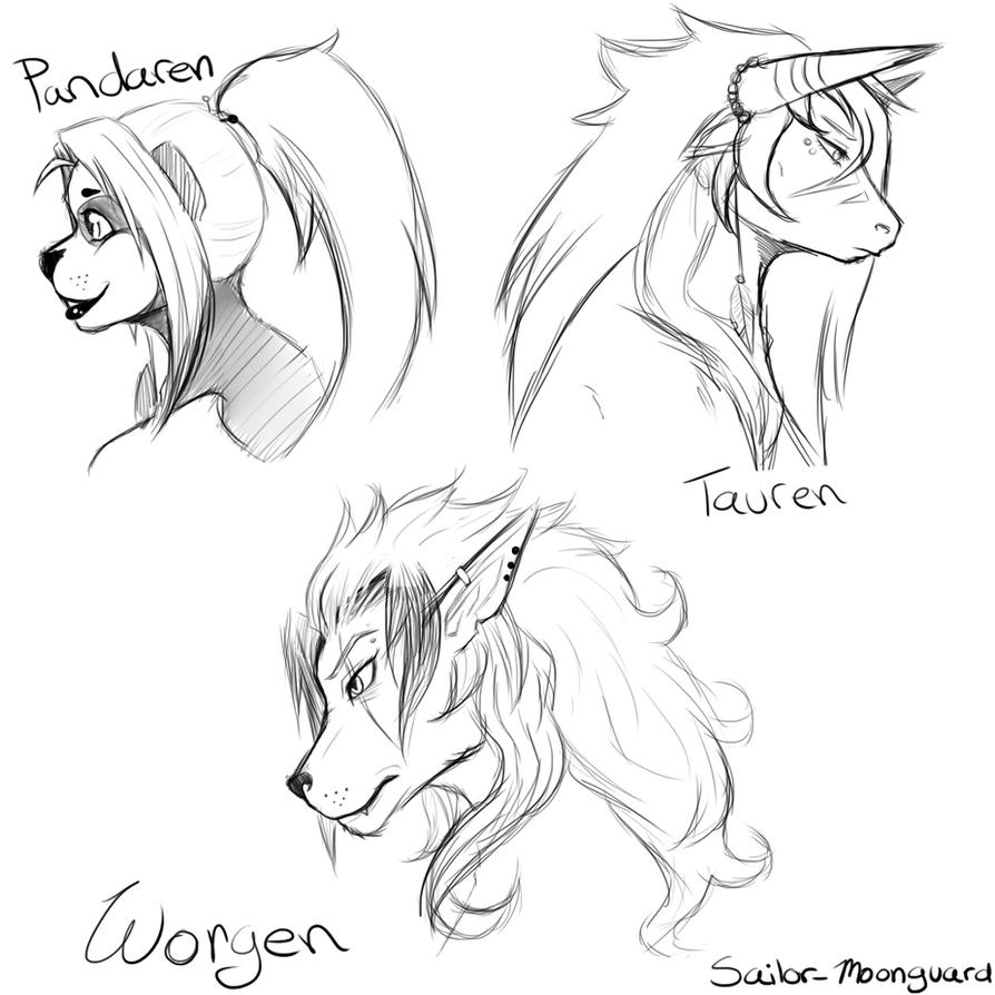 Warcraft Anthro headshots by makkochi