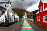 Follow the rainbow brick road.