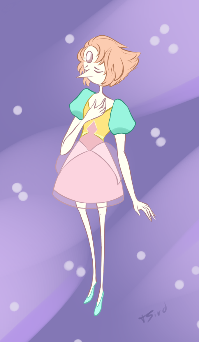Here's a small doodle of a young, loyal pearl from Steven Universe. She's precious, okay.