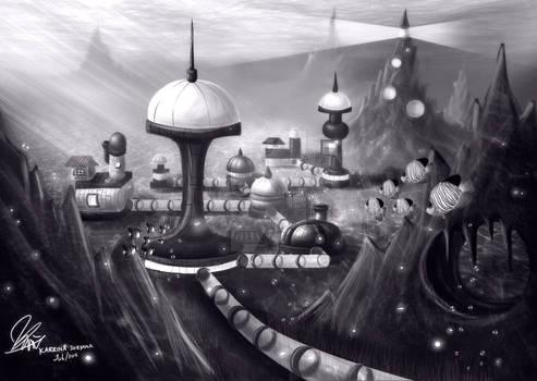 Underwater Outpost in BW