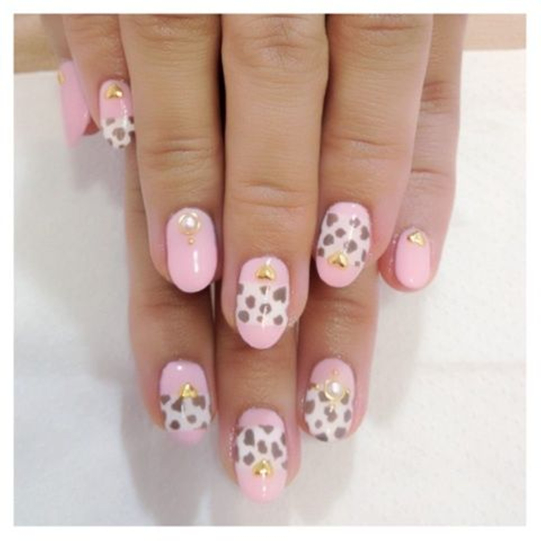 Pink White Cheetah Nail Art Love By Madhurupa On Deviantart