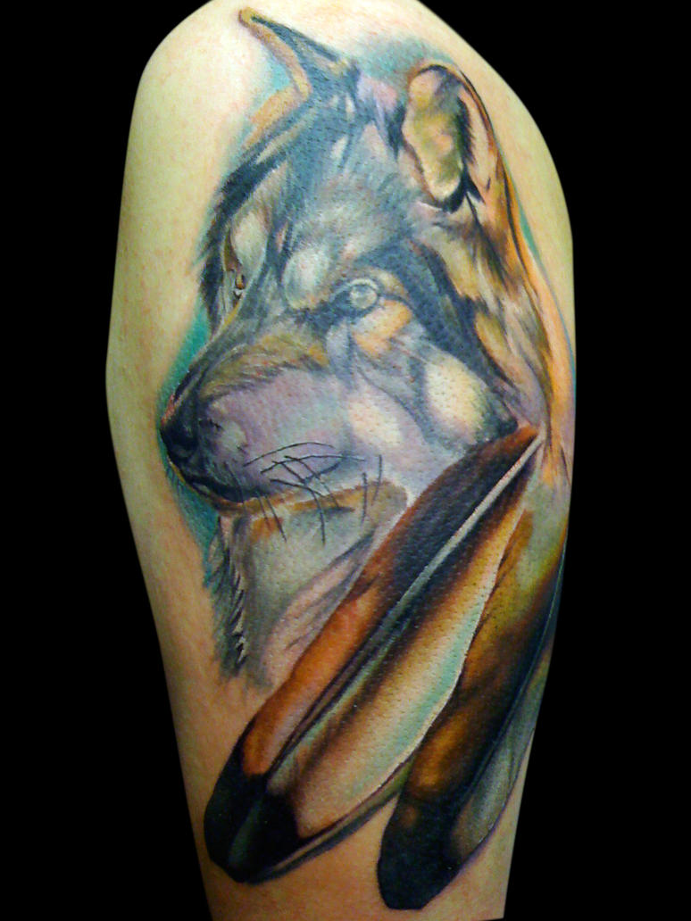 Wolf and eagle feathers by michaelbrito on deviantart for Wolf tattoo with feathers