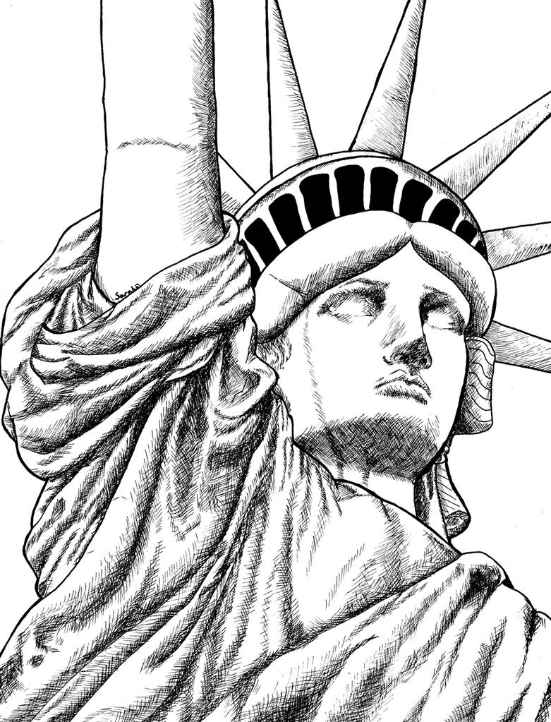 Statue of liberty face outline sketch coloring page for Statue of liberty drawing template