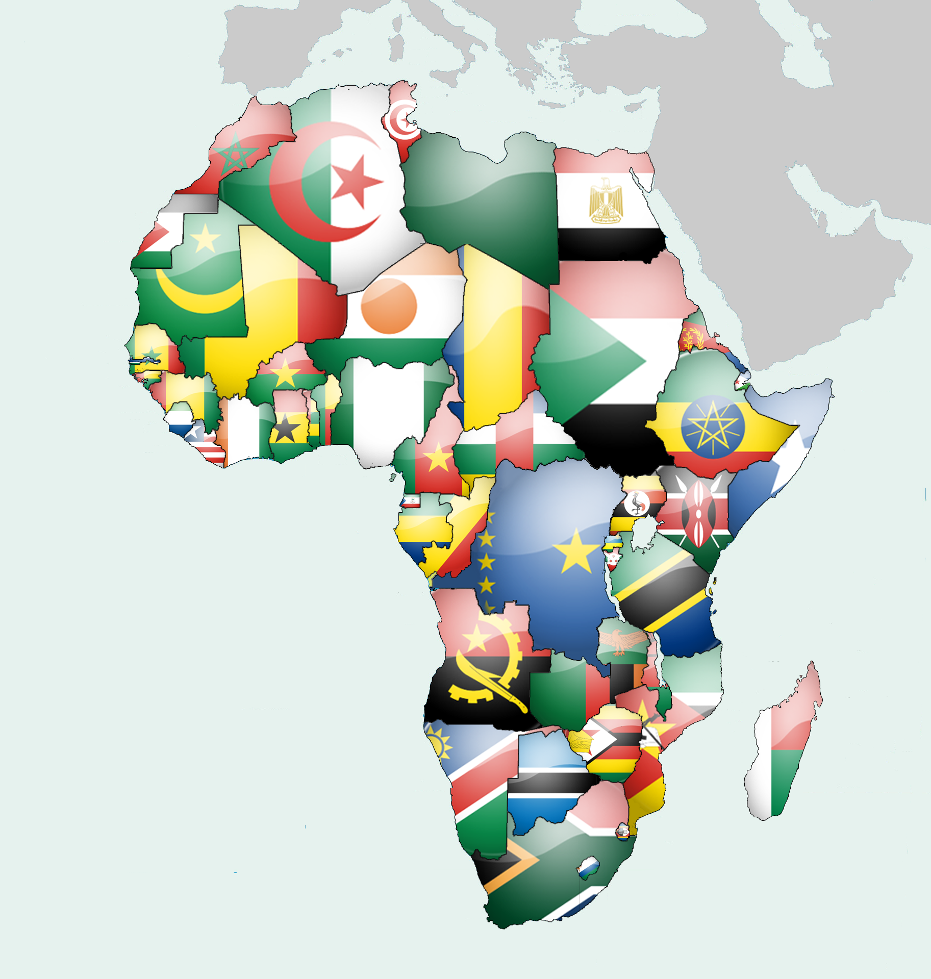 Map Of Africa Flags