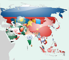 Asia Flag Map by lg-studio