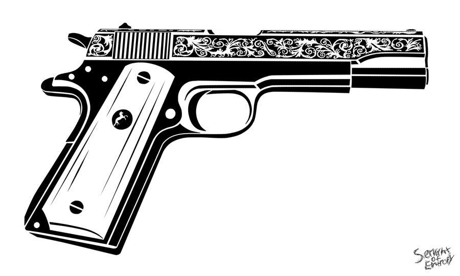 m1911 by servantofentropy on deviantart tattoo machine vector tattoo gun vector free