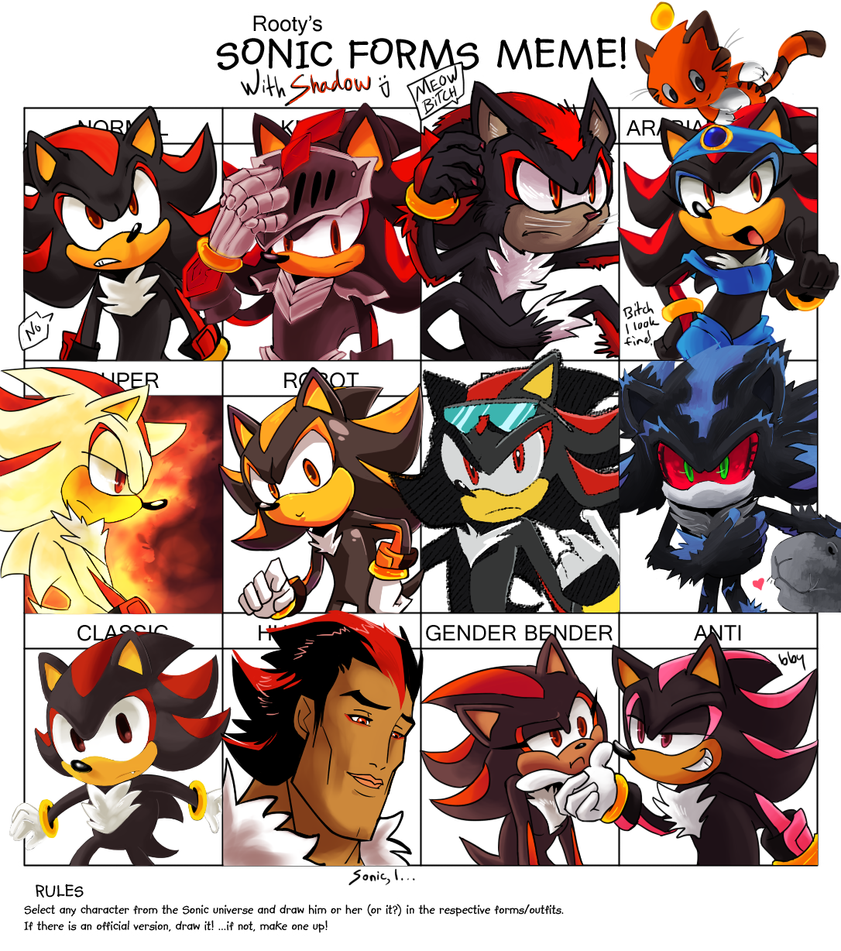 Sonic Forms Meme with Shadow by tortaviso