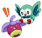 Bounsweet and Rowlet