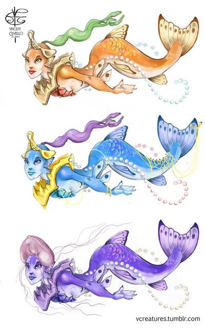 Cartoony Mermaids by V4m2c4