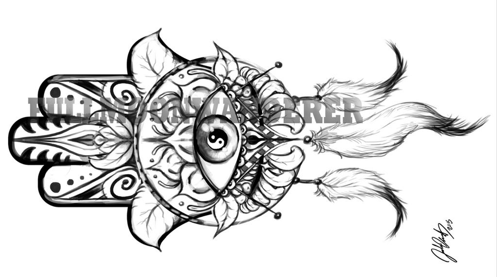 Hamsa Tattoo Commission By Fullmoonwanderer On Deviantart