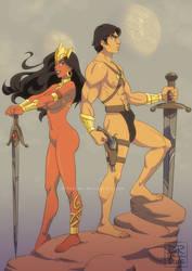 John Carter and Dejah Thoris II by ElenoideArt