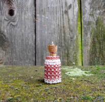 My first beaded bottle pendant by FeynaSkydancer