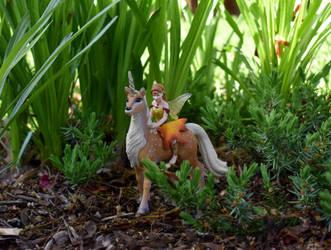 Fairy riding a Kirin 2 by FeynaSkydancer