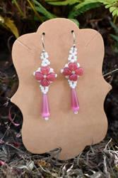 Heart Flower Earrings by FeynaSkydancer