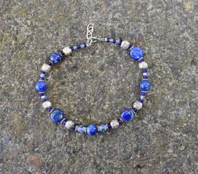 Blue stone anklet by FeynaSkydancer