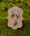 Unicorn Earrings and Necklace Set by FeynaSkydancer