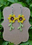 Beaded Sunflower Earrings by FeynaSkydancer