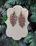Leaf and Leather Earrings by FeynaSkydancer