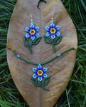 Beaded Flower Earrings and Pendant 1