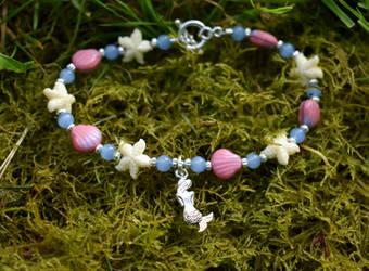 Shells, starfish, and mermaid bracelet