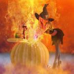 Halloween at midnight,witches witch - Fantasie Art by G-abi-K