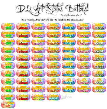 Pastel Rainbow Art Status Button Collection by Drache-Lehre