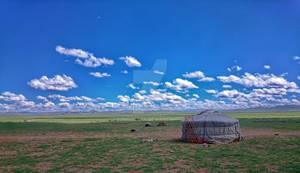 Mongolian Yurt on Steppes