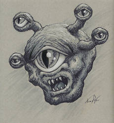 Eye Monster Drawlloween/Inktober day 9 eyeball by EricKemphfer