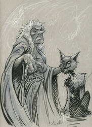 Witch and Black Cat Drawlloween/Inktober day 27/28 by EricKemphfer