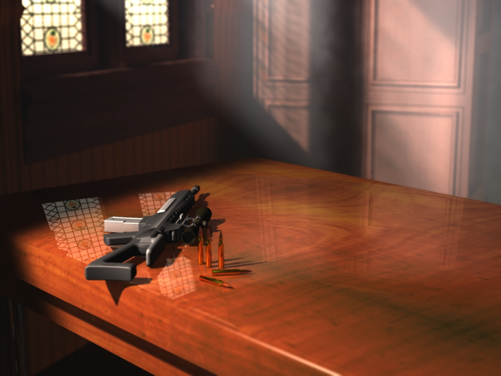 Gun on a table by foscus on deviantART